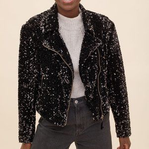 NWT Anthropologie MAEVE Malia Sequined Moto Jacket